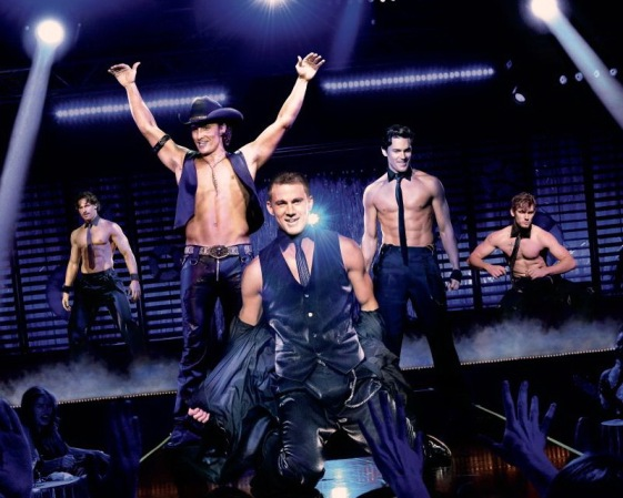Joe Manganiello, Matthew McConaughey, Channing Tatum, Matt Bomer, and Alex Pettyfer posing on stage
